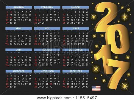2017 Black Calendar Usa Festive Days H