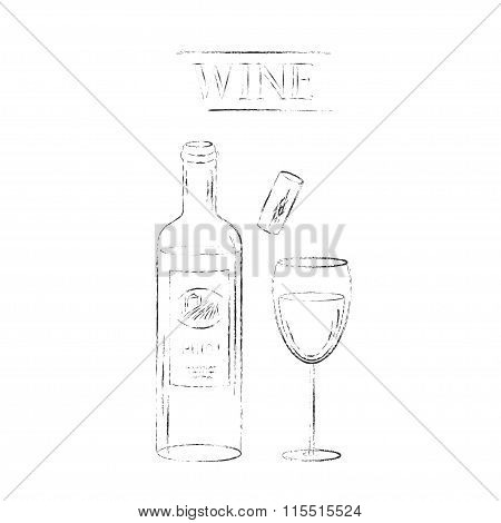Hand drawn sketch of wine glass, bottle, cork