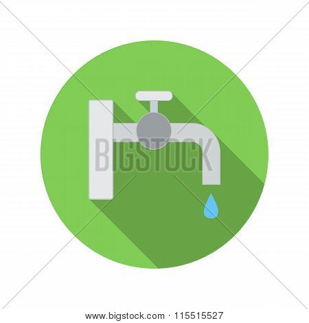 Water tap with drop flat icon