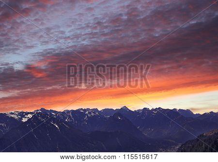 Beautiful View To Karwendel Alps At Sunset