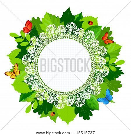 Summer Round Leaves Frame With Lace And Butterflies