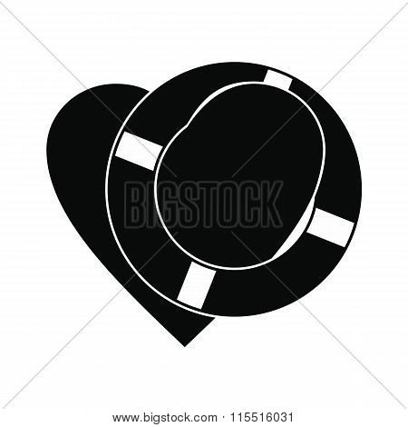 Heart with lifeline black simple icon