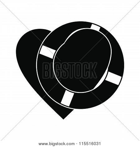 Heart with lifeline black simple icon