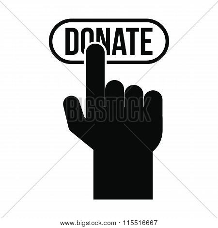 Donate button pressed by hand icon
