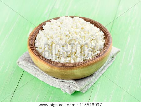 Curd In Wooden Bowl