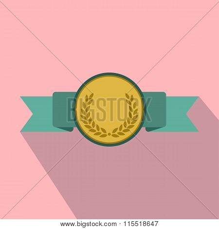 Medal with green ribbon flat icon