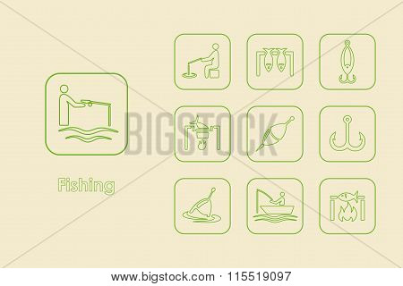 Set of fishing simple icons
