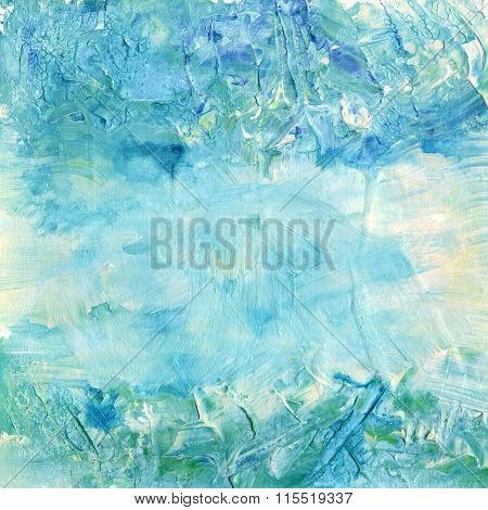 Abstract Teal Acrylic Background Texture With Brush Strokes