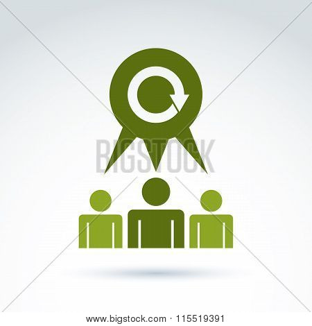 Teamwork And Business Team And Friendship Icon, Social Group, Organization, Vector Conceptual