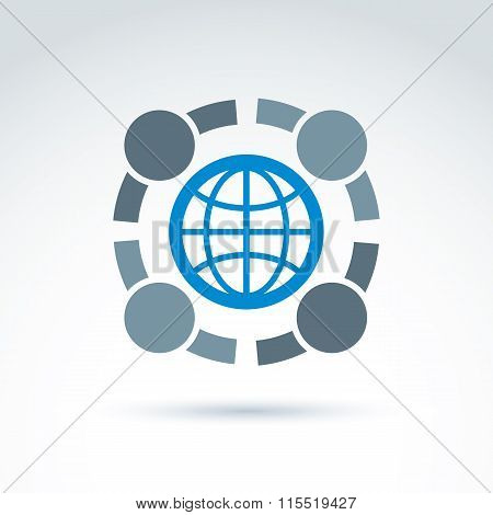 Vector Conceptual Society Symbol, Earth Protection Icon, International Friendship Sign. People Embra