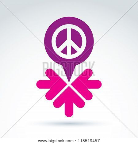 Peace Propaganda Icon With Arrows, Working And Cooperation For Peace, Vector Conceptual Symbol
