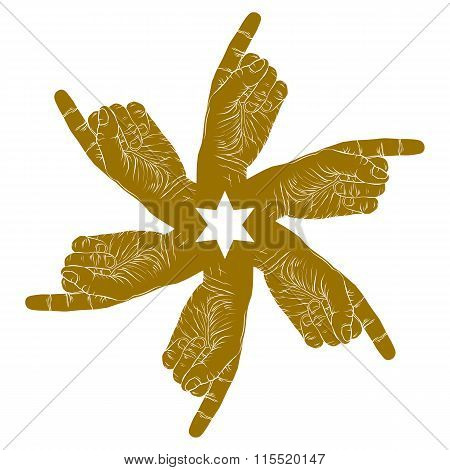 Six Pointing Hands Abstract Symbol With Hexagonal Star, Single Color Vector Special Emblem