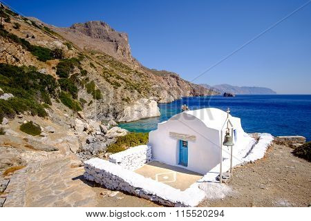 Romantic Landscape View Of Beach With Chapel On Amorgos, Greece