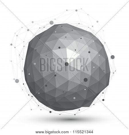 3D Vector Abstract Design Object, Orbital Complicated Figure With Lines Mesh Isolated On White Backg