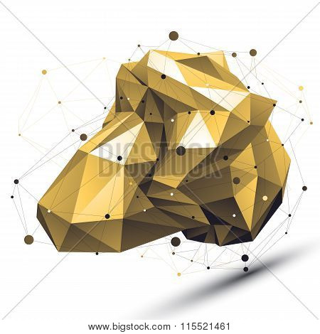 Spatial Technological Shape With Wire Mesh, Polygonal Gold Cybernetic Wireframe Object.