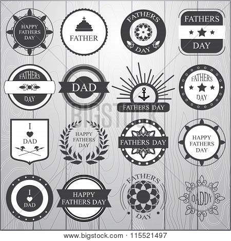 Stock Vector Set Of Label For Fathers Day On The Wood Background