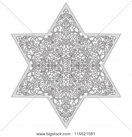 Circular pattern. Islamic ethnic ornament for pottery, tiles, textiles, tattoos