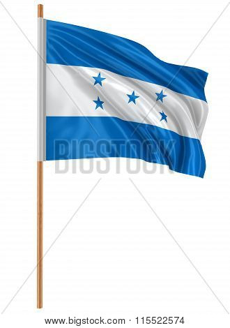 3D Flag of Honduras with fabric surface texture. White background.