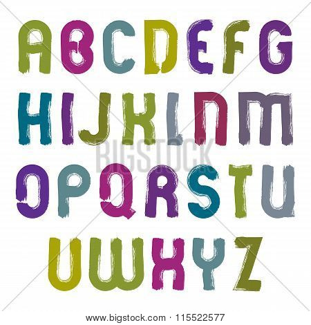 Vector Hand-painted Colorful Letters Isolated On White Background, Uppercase Art Script