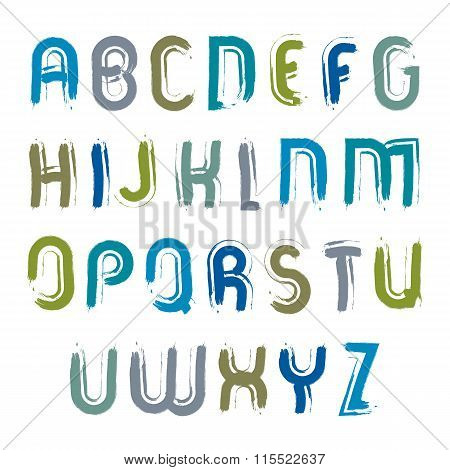Vector Hand-painted Capital Letters Isolated On White Background, Uppercase Art Script