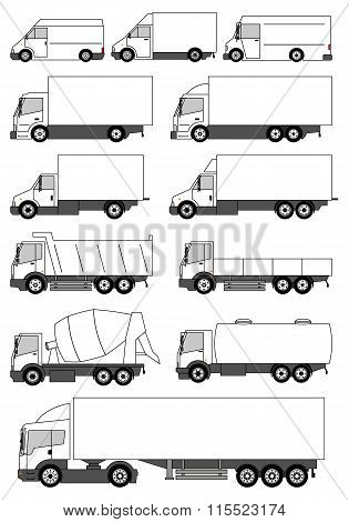 Set Of Vector Trucks Icons