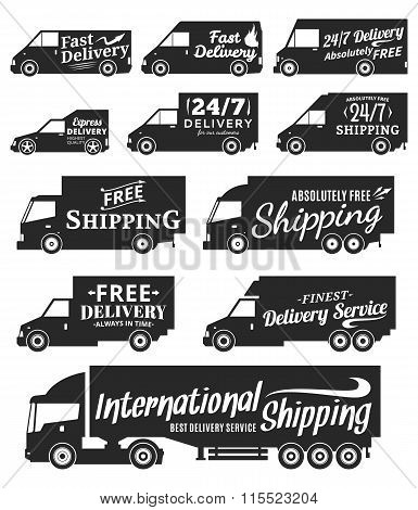 Vector Delivery Service Labels, Commercial Vehicles And Delivery Cars Icons
