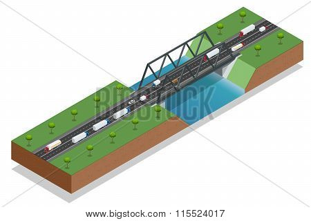 Isometric bridge over the river. Commercial transport. Truck car. Various types of load and cargo. L
