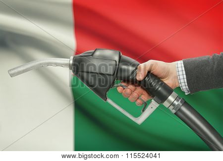 Fuel Pump Nozzle In Hand With National Flag On Background - Madagascar