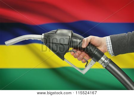 Fuel Pump Nozzle In Hand With National Flag On Background - Mauritius