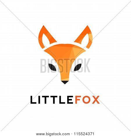 Vector Trendy Minimalistic Red Fox Head Logo In Polygonal Style