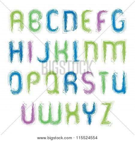 Vector Vivid Alphabet Capital Letters Set, Hand-drawn Colorful Script, Bright Drop Caps Drawn
