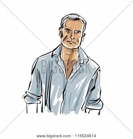 Hand Drawn Countryman Illustration On White Background, Grey-haired Man.