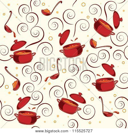 Illustration Pattern With Kitchen Utensils.
