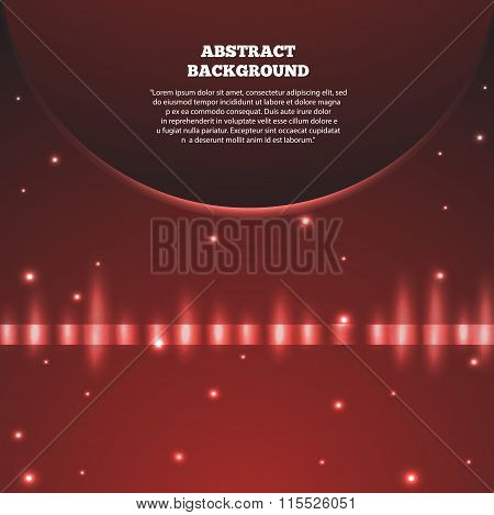 Abstract Red Background With Planet. Galaxy And Earth, Sunrise Astronomy, Vector Illustration Eps 10