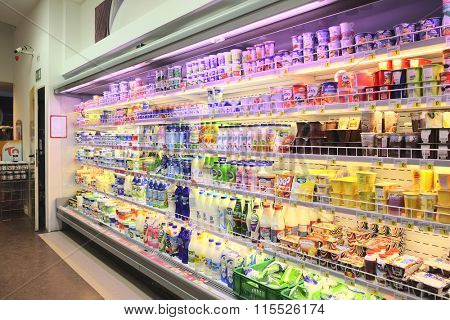 Mostar, Bosnia, January, 2, 2016: Interior of a supermarket in Mostar, Bosnia
