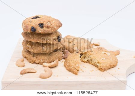 Oatmeal Cookies On White Background