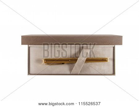 Golden Pen In Box Top View