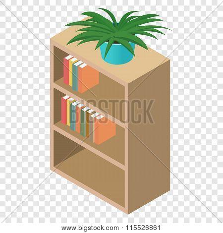 Bookcase isometric 3d icon