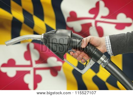 Fuel Pump Nozzle In Hand With Usa States Flags On Background - Maryland