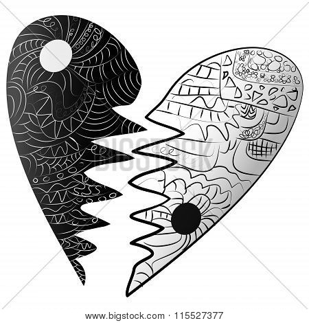 Black And White Broken Heart Drawn Zentangle Style