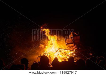 People Watching Big Fire In Night