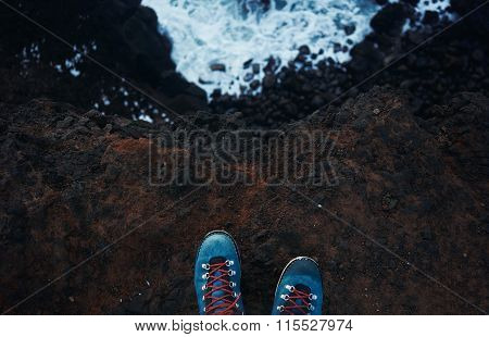 Top View Blue Trekking Shoes On The Edge