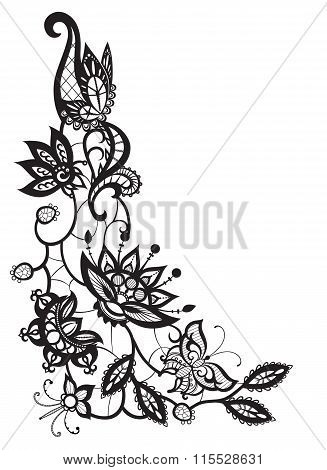 Abstract Lace With Elements Of Flowers, Leaves And Butterflies