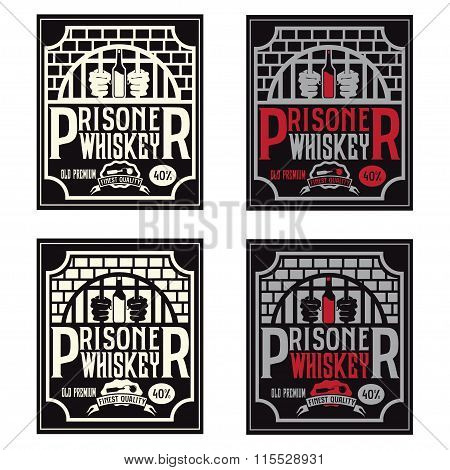 Prisoner Whiskey Vintage Labels Set Vector Design Template