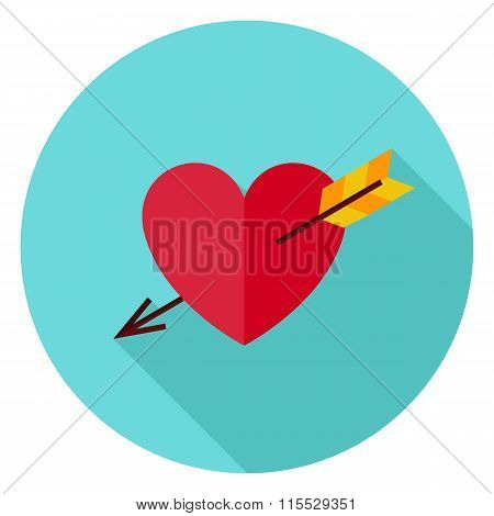 Love Heart Pierced With Arrow Circle Icon