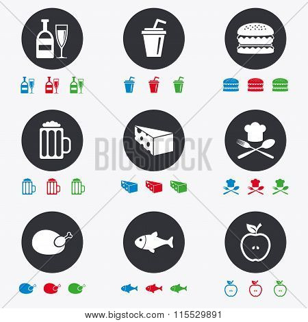 Food, drink icons. Beer, fish and burger signs.