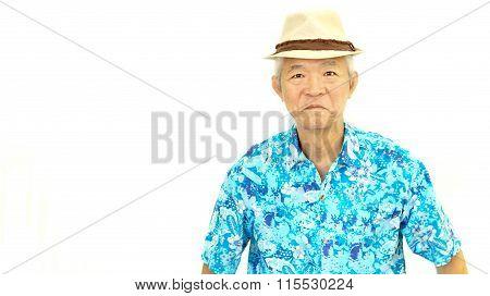 Happy Asian Senior Guy On Blue Hawaii Shirt Laughing On White Isolate Background