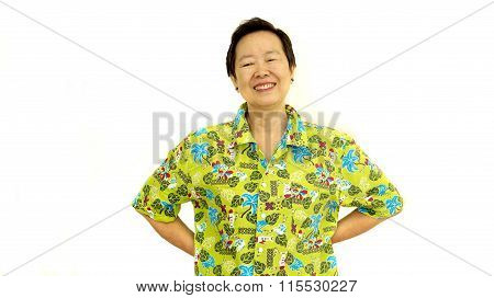 Happy Asian Senior Woman Smile On Green Hawaii Shirt White Isolate Background
