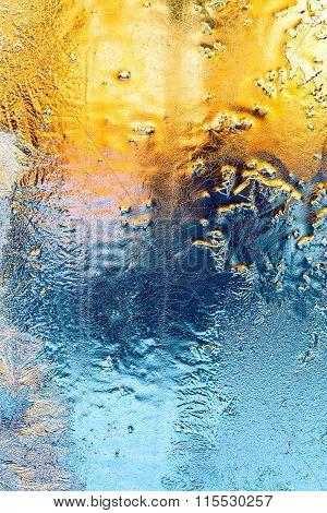 Ice On Winter Window Background