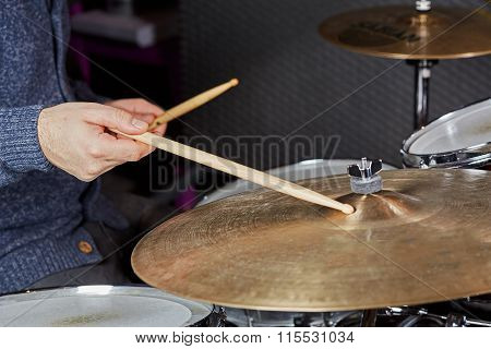 Drummer Strking The Cymbal